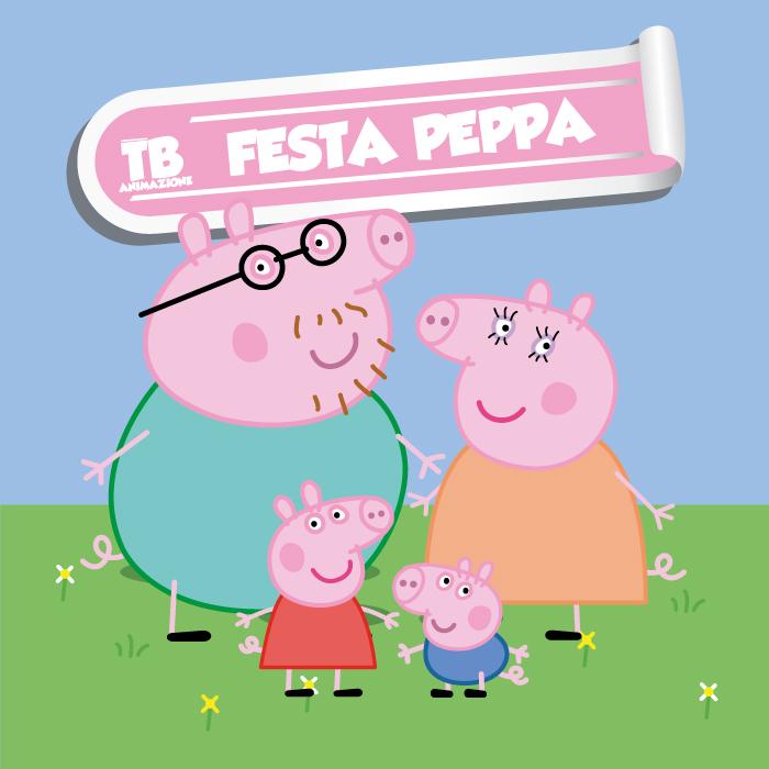 i personaggi di peppa pig sotto il logo di tb animazione