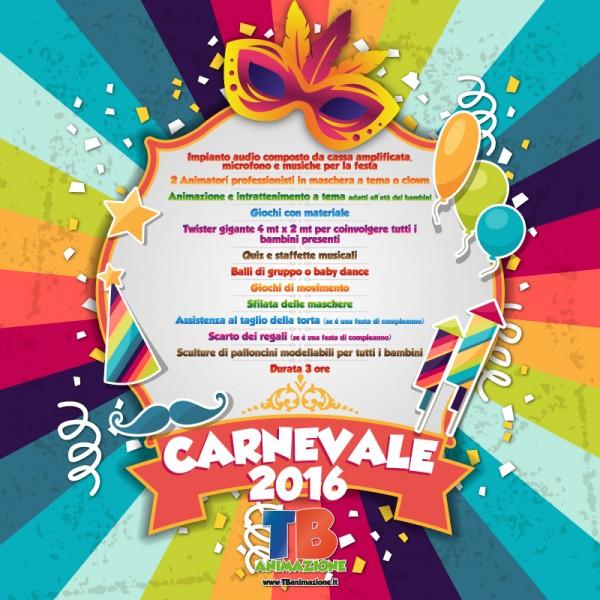 elenco di tutto quello che comprende la festa di carnevale, una delle feste per bambini a roma proposte da tb animazione