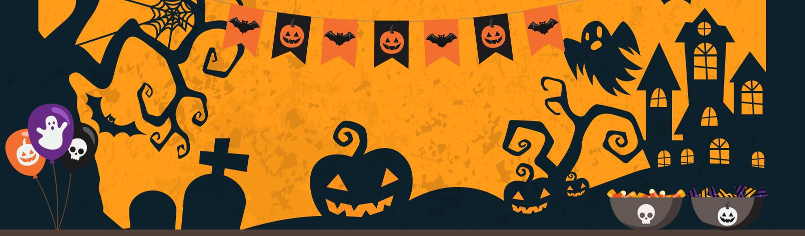 grafica di halloween con zucche e bacinelle di dolciumi
