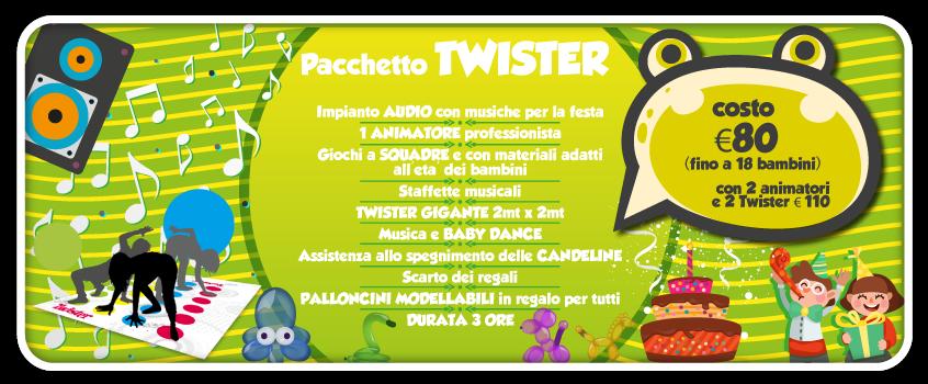 elenco di tutto quello che comprende il pacchetto twister, una delle feste per bambini a roma proposte da tb animazione