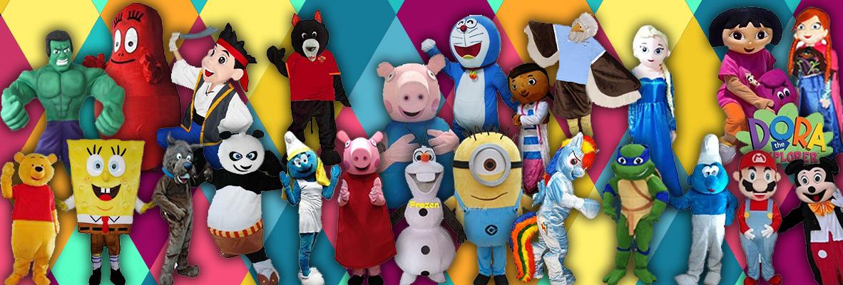 grafica con i costumi di personaggi per bambini. parte del nostro servizio di noleggio mascotte a roma