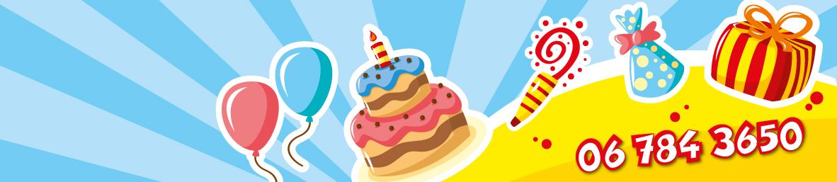 un disegno con una torta, palloncini, festoni e un regalo col numero di telefono 067843650 di tb animazione, leader nel settore delle feste a roma
