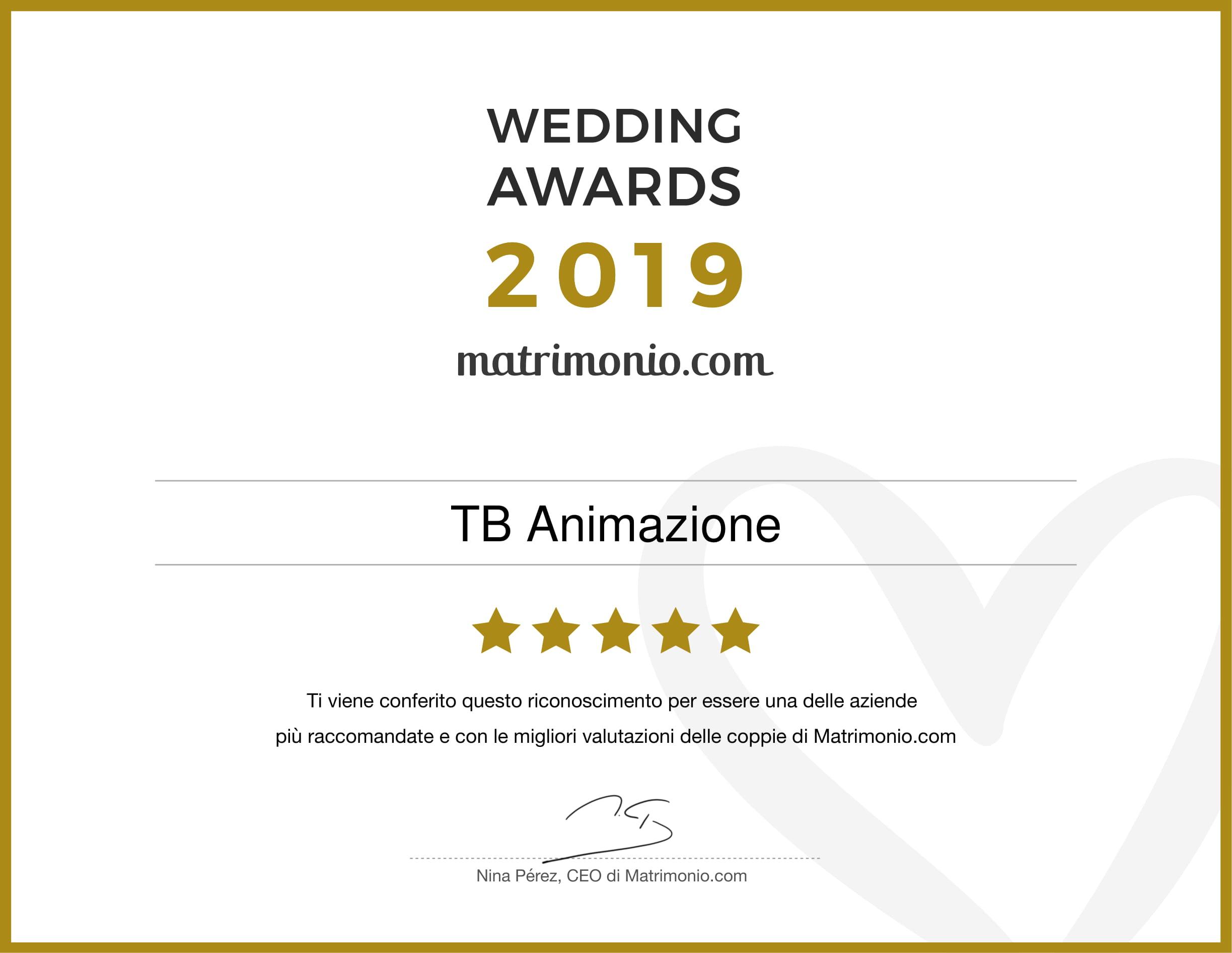 il riconoscimento di wedding award 2019 per tb animazione. eccelliamo nel campo dei matrimoni a roma